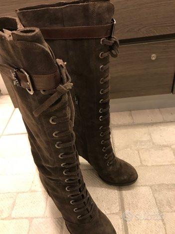 Stivali con tacco in camoscio tg 38 come nuovi