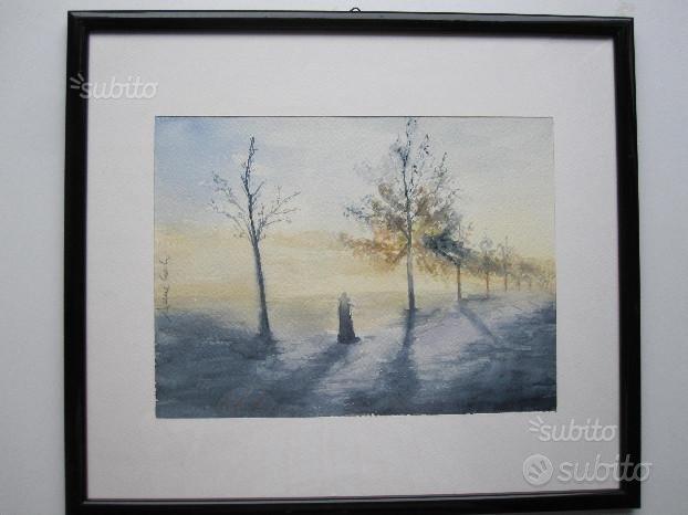 Acquerello su carta - Viale del tramonto,CALVI & BRAMBILLA