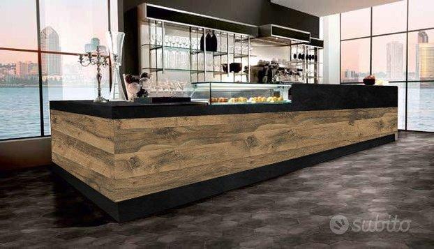Bancone Bar e Retro Banco Acciaio 3,6 Metri
