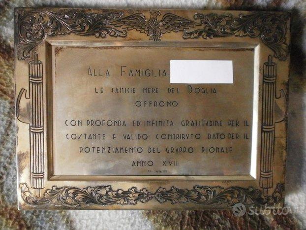 CC.NN.1939 : Targa in argento massiccio NOMINATIVA