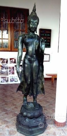 STATUA ARREDO BUDDHA BUDDA FORTUNA NERO ARGENTO PROTEZIONE AMULETO INDIA ETNICO