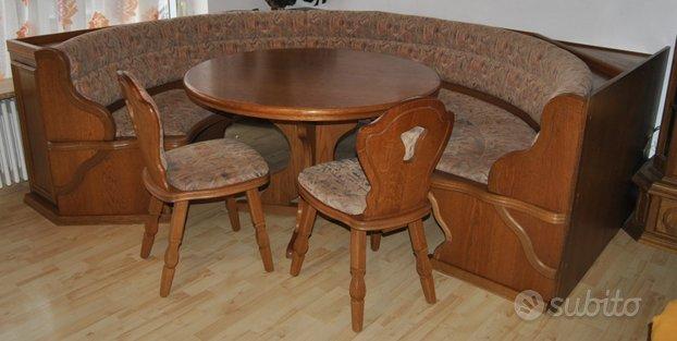 Panca rotonda tavolo 2 sedie legno soggiorno