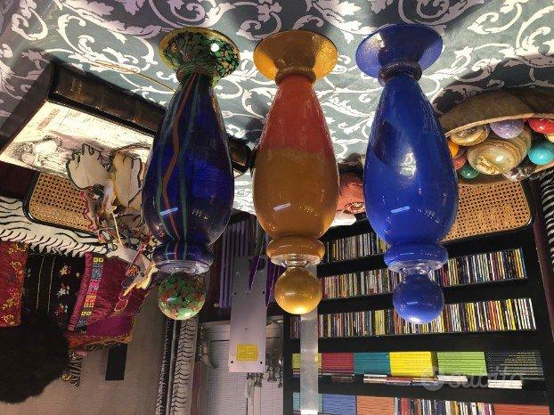 Carlo moretti, bottiglie in vetro di murano