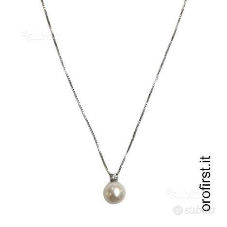 Catenina in oro bianco 18 kt con diamante e perla