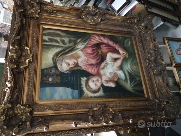 Stupendo Quadro olio su tela Madonna con Bambino