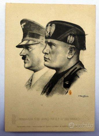 Cartolina fascista Patto d'Acciaio 1938 Führer Dux