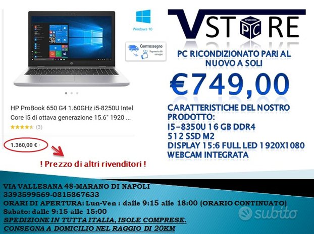 NOTEBOOK Hp 650 G4 i5 8350U 16 GB DDR4 512 SSD M2