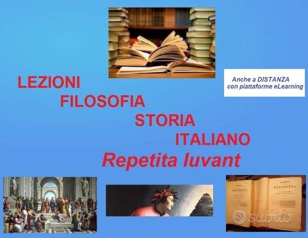 Filosofia, storia, italiano lezioni accurate