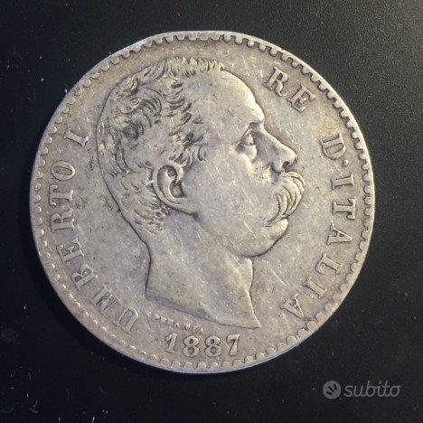 2 LIRE argento 1887 - UMBERTO I - Regno d'Italia