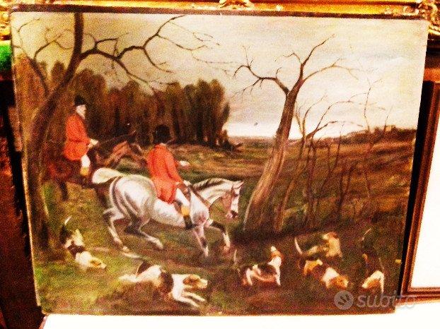 Dipinto ad olio su tavola caccia alla volpe