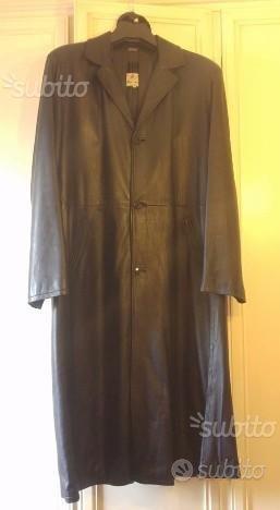 Cappotto lungo nero di vera pelle tg 58