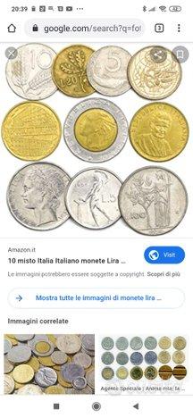 Monete antiche 10,20,50,100 e 500 lire