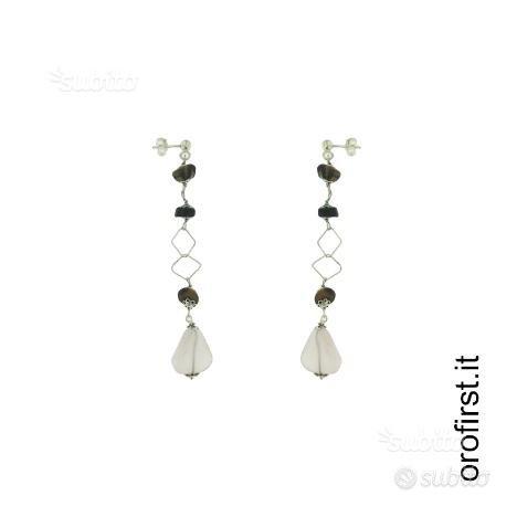 Orecchini pendenti argento 925% e pietre colorate