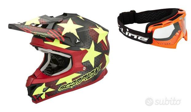 Casco moto cross enduro off road scorpion maschera