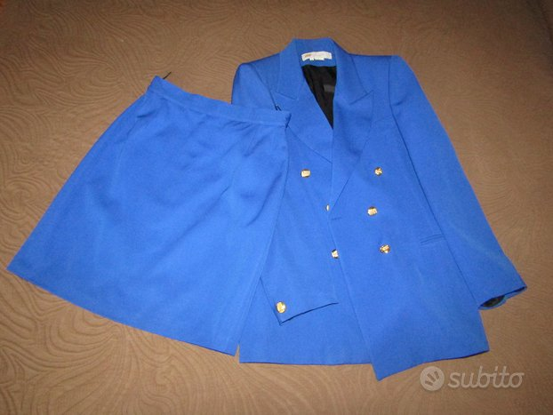 Tailleur giacca/gonna blu elettrico made in Italy