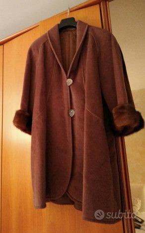 Cappotto di sartoria 100% lana, polsi in visone