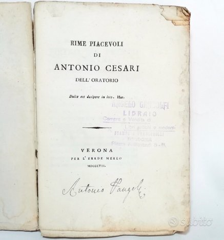 1807 - rime piacevoli di antonio cesari