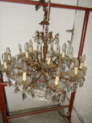 Due lampadari cristallo gocce di murano anni '40