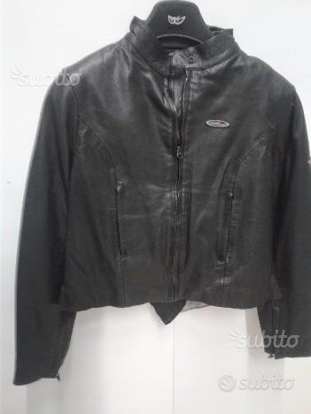 Giubotto da moto in pelle nero marca scotland