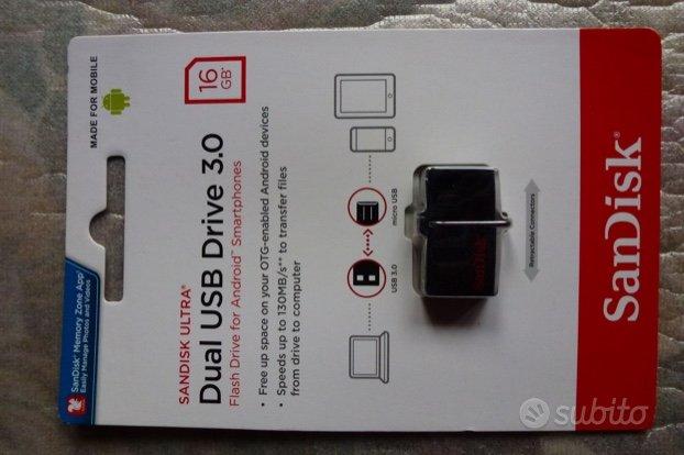 16 GB Pendrive Sandisk micro usb-usb 3.0 sigillata