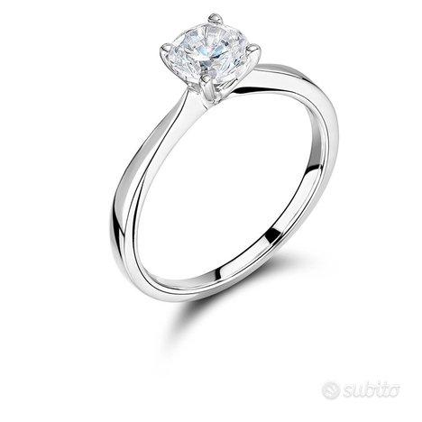 Anello Oro bianco Diamante 1 KT Certificato