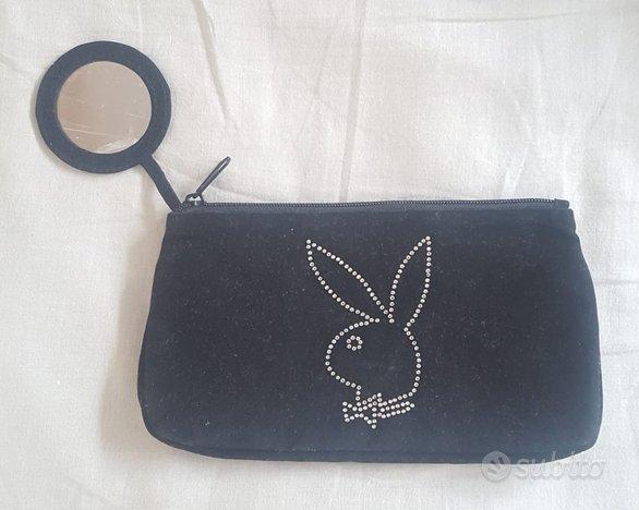 Pochette borsa Playboy nera interni rosa specchio