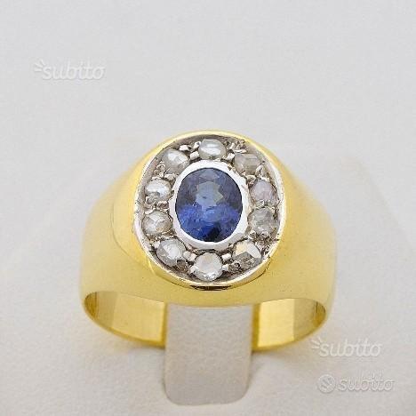 Anello in oro 18kt con zaffiro e diamanti 0.30 ct