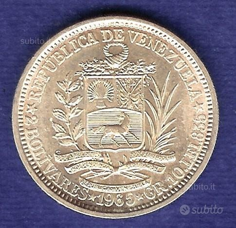 VENEZUELA 1965 Moneta 2 Bolivares Argento