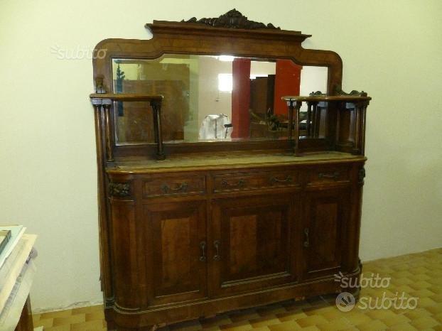 Credenza legno marmo specchiera antica