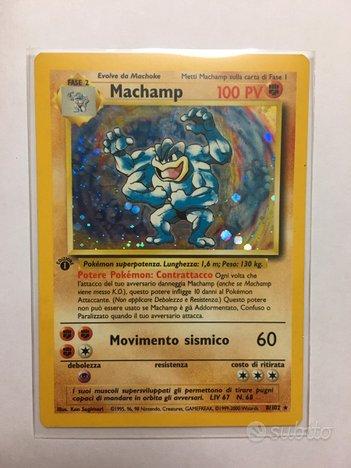 Carta Pokemon Machamp Holo Prima edizione Set Base