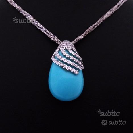 Collana in oro bianco con diamanti e turchese