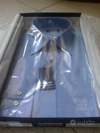 Camicia nuova a maniche lunghe t. 38 azzurra