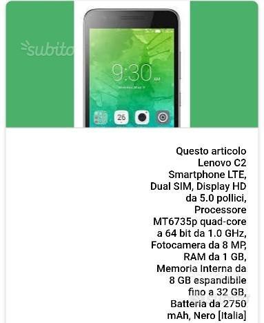Smartphone LENOVO C2 NUOVO Dual Sim
