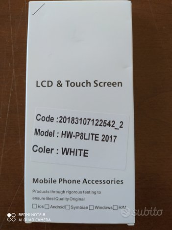 Display LCD e touch screen Huawei P8 lite 2017