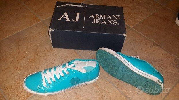 Scarpe donna Giorgio Armani vernice lucide azzurro
