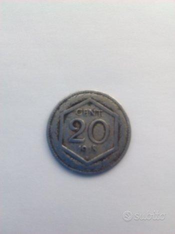 Moneta 20 centesimi esagono 1918, bordo liscio