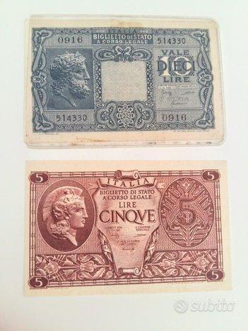 Banconote regno 10 lire Giove 5 lire elmata fds