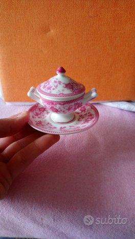 Mini zuppiera porcelain art con piattino coperchio