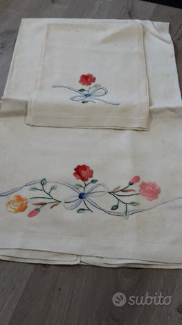 asciugamani in lino ricamo fiori colorati grande e