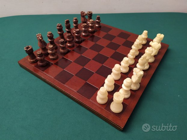Scacchiera legno scacchi alabastro