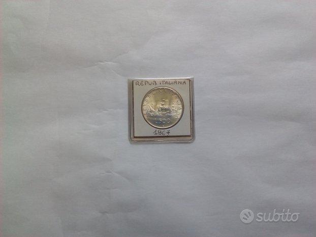 Moneta Lire 500 Argento tre caravelle 1967