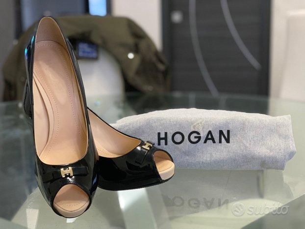 Scarpe Hogan Decollete Spuntate nero lucido nuove