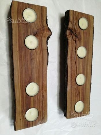 Portacandele in legno CILIEGIO, realizzato a mano