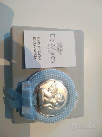 Capoculla argento neonato azzurro