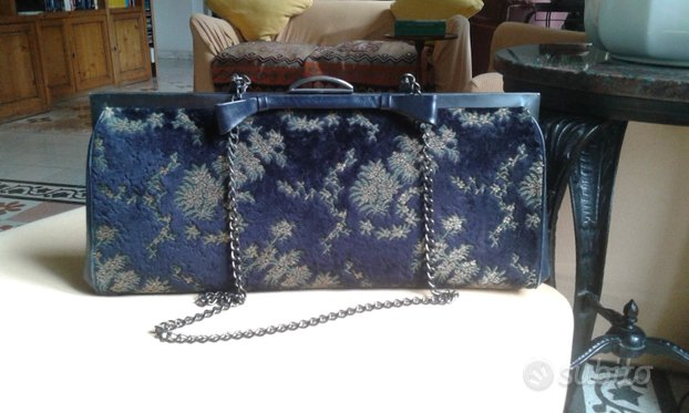 Borsa vintage in velluto blu