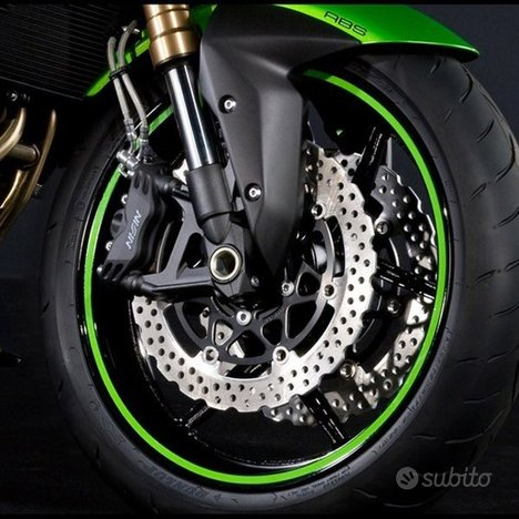 Strisce adesive per cerchi moto verde rifrangente