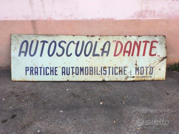 Insegna smaltata anni 50' Autoscuola Dante