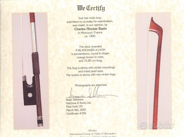 Arco da violino C.N.Bazin certificato I.Sachow