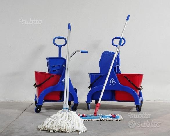 2 Carrelli pulizie con strizzatore 2 mop + Speedy
