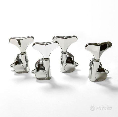 4 Meccaniche tuners hardware per Basso, cromate